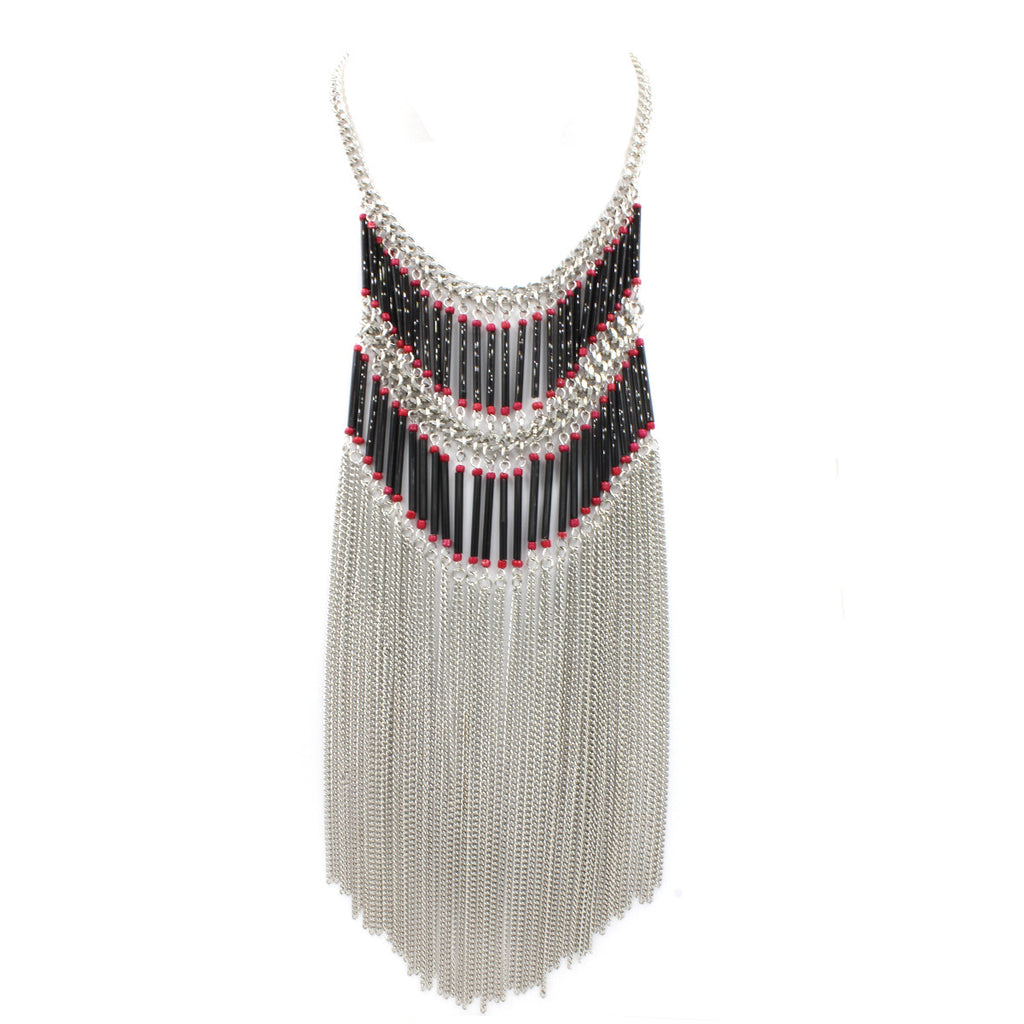 Boho Fringe Necklace - Statement Necklace -  Silver - 1