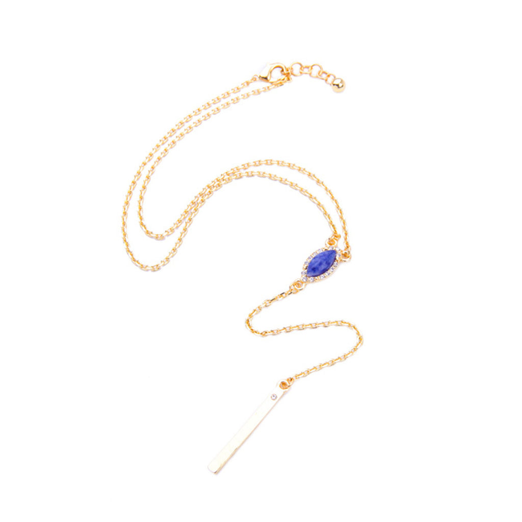 Paved Gem Y Necklace - Long Necklace -   - 2