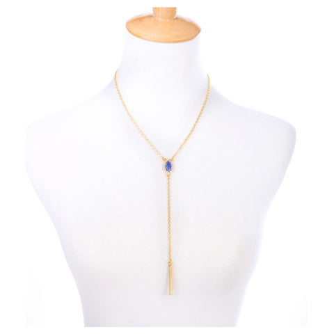 Paved Gem Y Necklace - Long Necklace -   - 3