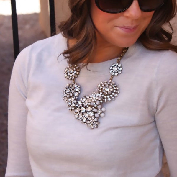 Dimante Blossom Necklace - Statement Necklace -   - 3