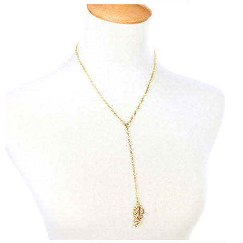 Paved Leaf Y Neckace - Long Necklace -   - 3