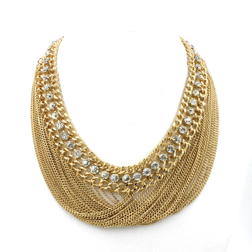 Lucy Bib Chain Necklace - Statement Necklace -  Gold - 2