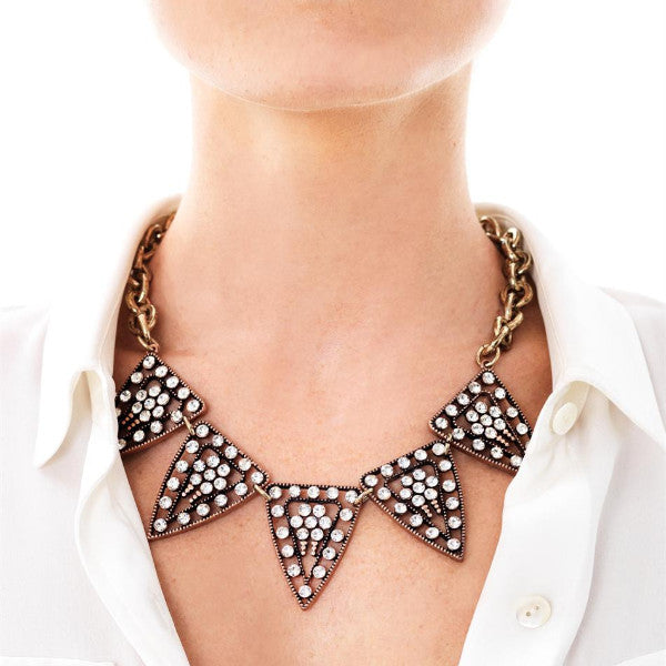 Pyramid Sparkle Necklace - Collar Necklace -   - 3