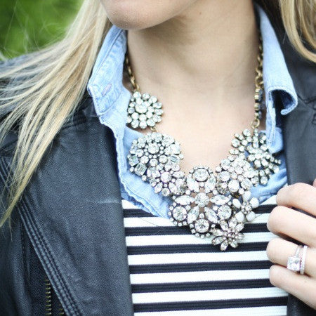 Dimante Blossom Necklace - Statement Necklace -   - 4