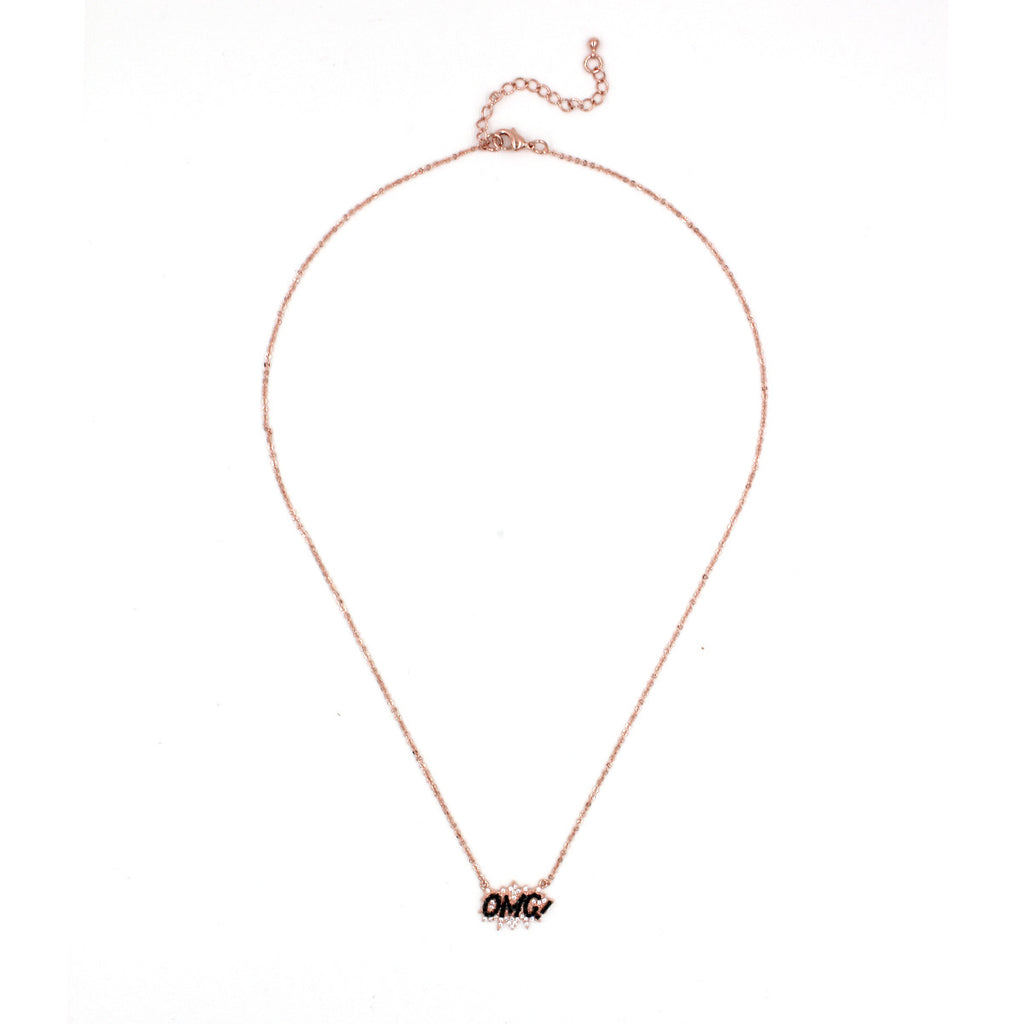 OMG micro paved necklace - Delicate Necklace -   - 2