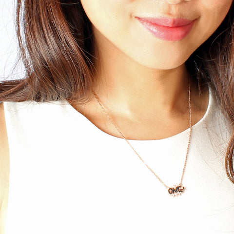 OMG micro paved necklace - Delicate Necklace -   - 3