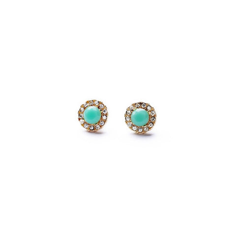 Petite Aqua Stud - Stud Earrings -