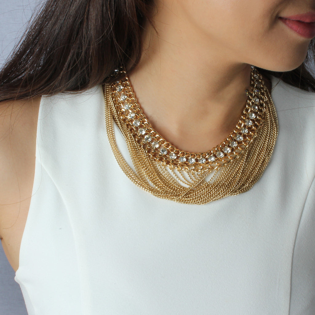 Lucy Bib Chain Necklace - Statement Necklace -   - 3