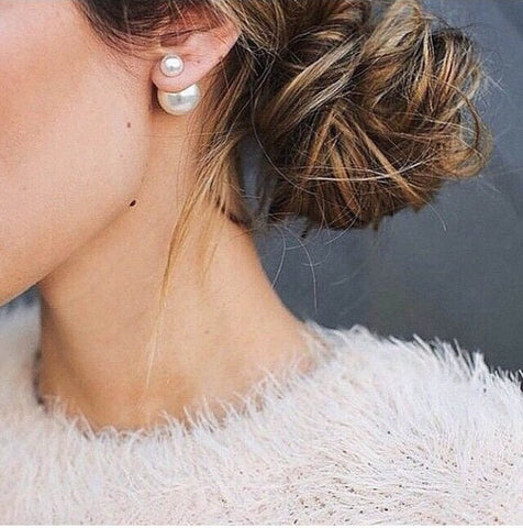 Double Pearl Stud Earrings - Stud Earrings -   - 3