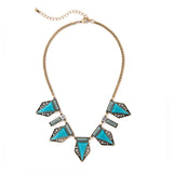 Teal Triangle Bib Necklace - Statement Necklace -