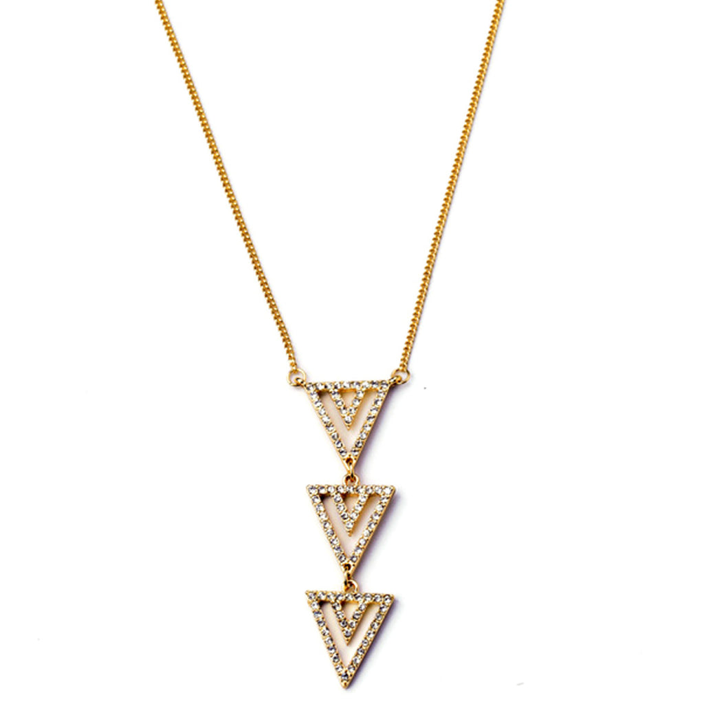 Paved Triangle Necklace - Long Necklace -   - 1