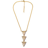Paved Triangle Necklace - Long Necklace -   - 2