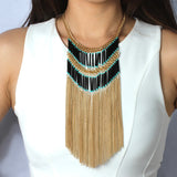 Boho Fringe Necklace - Statement Necklace -   - 3