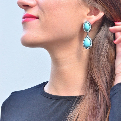 Twin Turquoise Earrings - Statement Earrings -   - 3