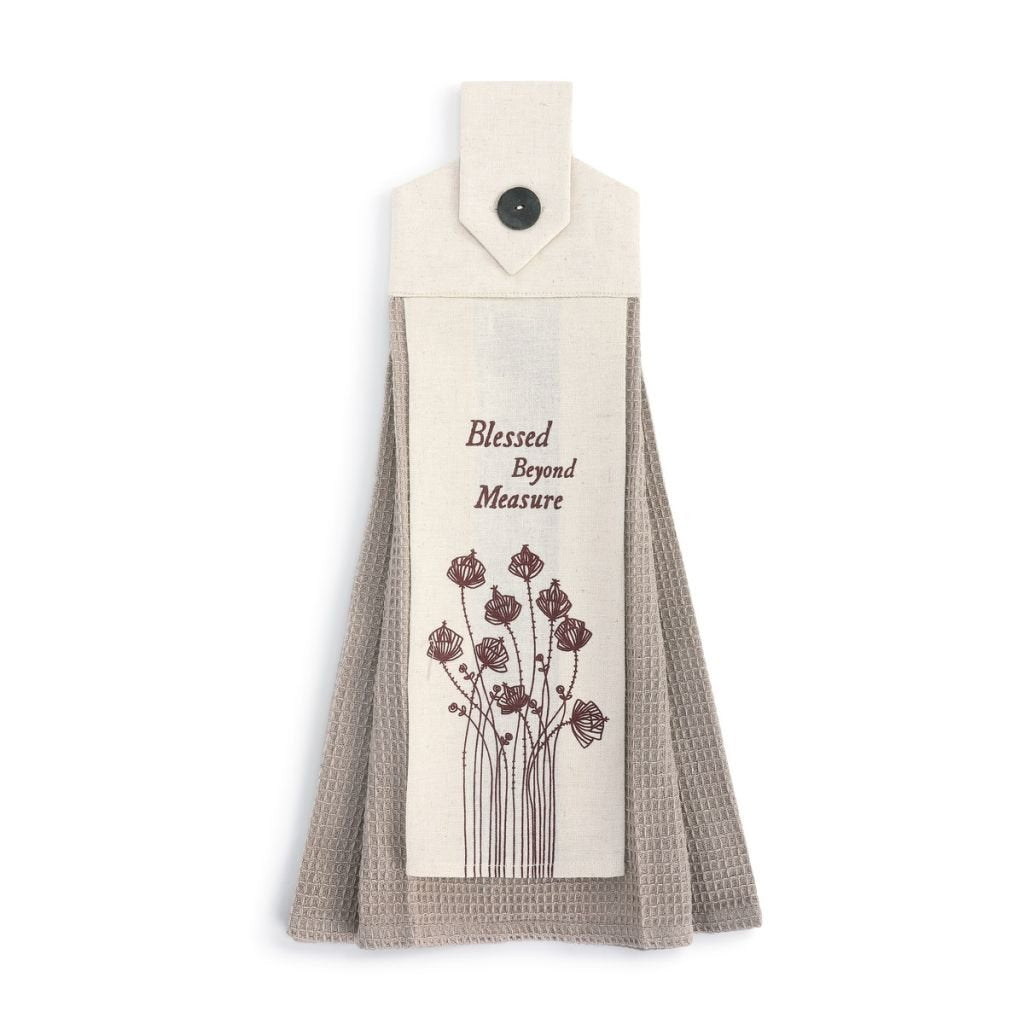 Kitchen Towel With Button Loop Loving Country Living