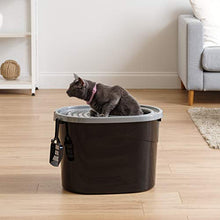 Load image into Gallery viewer, IRIS Top Entry Cat Litter Box, Dark Gray/White