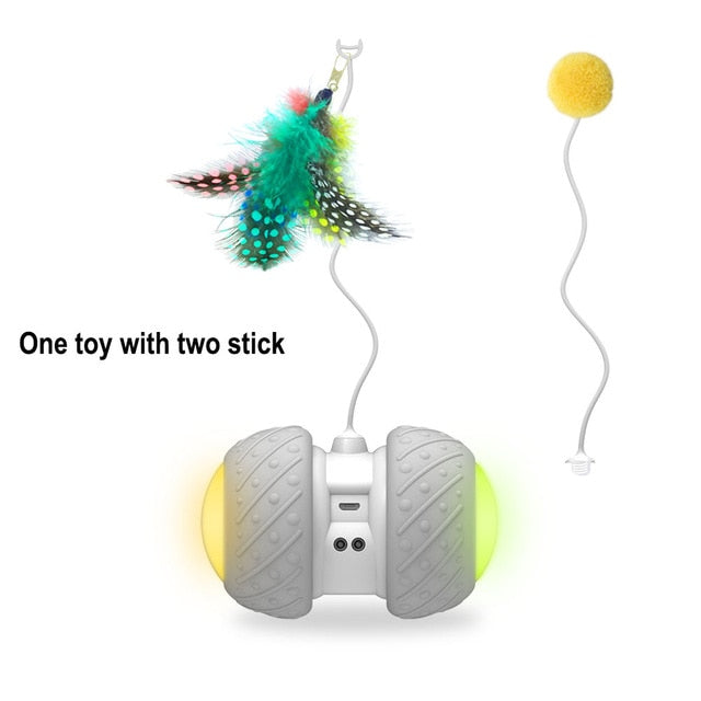 Smart Interactive Cat Toy with LED Light & Feather