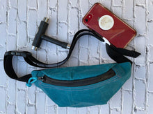 Load image into Gallery viewer, Teal Waxed Canvas Fanny Pack