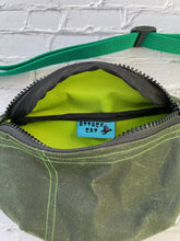 Load image into Gallery viewer, Forest Green Waxed Canvas Fanny Pack