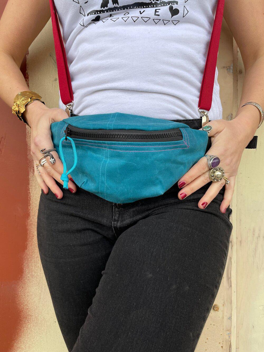 Teal Waxed Canvas Fanny Pack