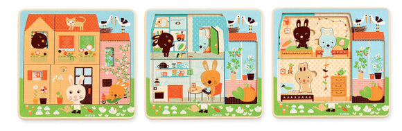 Djeco Rabbit 3 layer puzzle