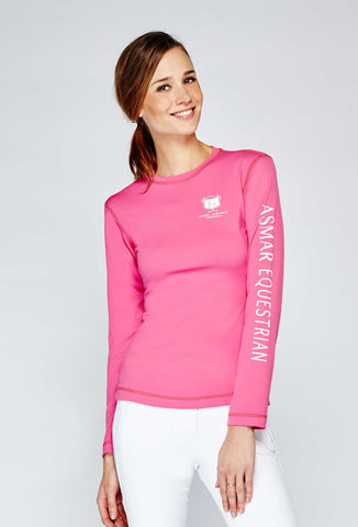 Asmar Long Sleeve Logo T, Shocking Pink