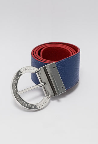 Asmar Equestrian Signature Leather Reversible Belt, Red/Navy
