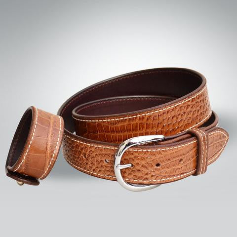 Rebecca Ray Designs Embossed Cowhide Croc Belt