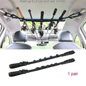 5 Slot Vehicle Fishing Rod Rack Pole Holder Belt Strap Carrier Truck SUV Car Save Most Of The Space In The Car