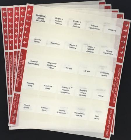 Pre-Printed Tabs and Highlights for Florida State Residential Contractor Book Package