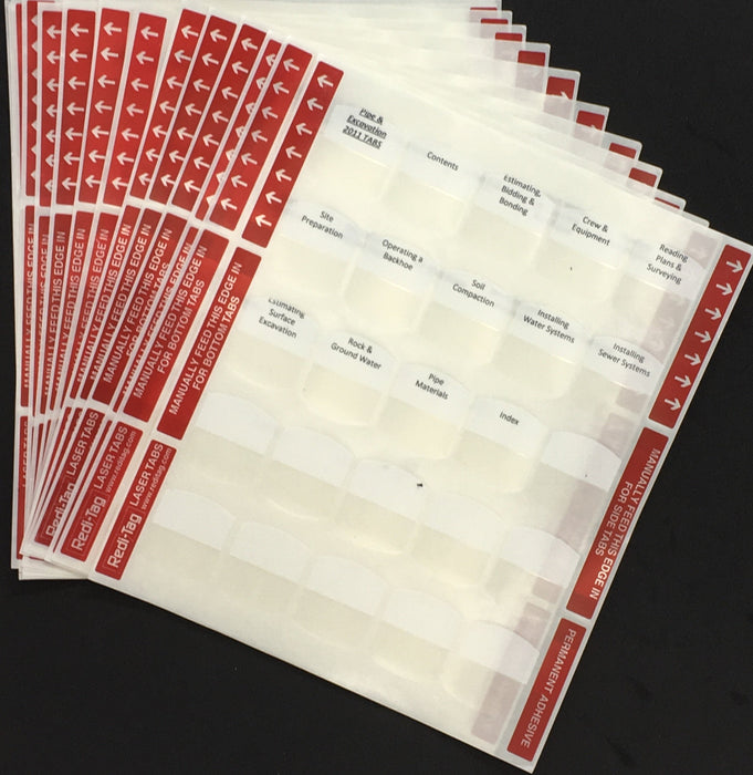 Pre-Printed Tabs for Florida State Underground Utility Book Package; Tabs Only