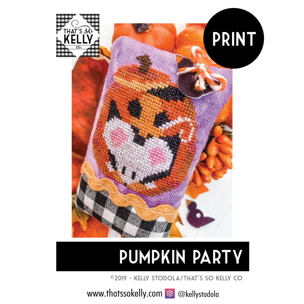 Pumpkin Party PRINT Cross Stitch Chart