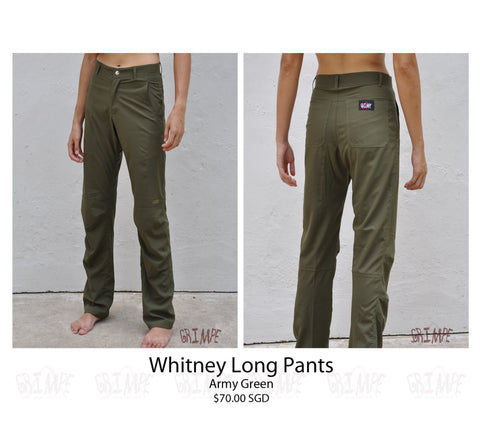 Whitney Long Pants (White & Green)
