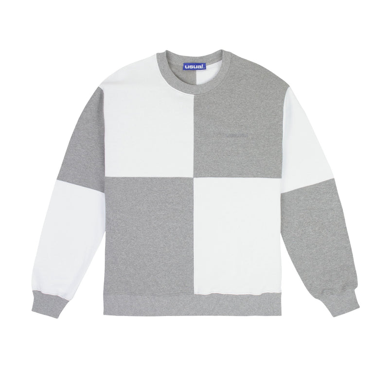 Usual - Big Check Crewneck White