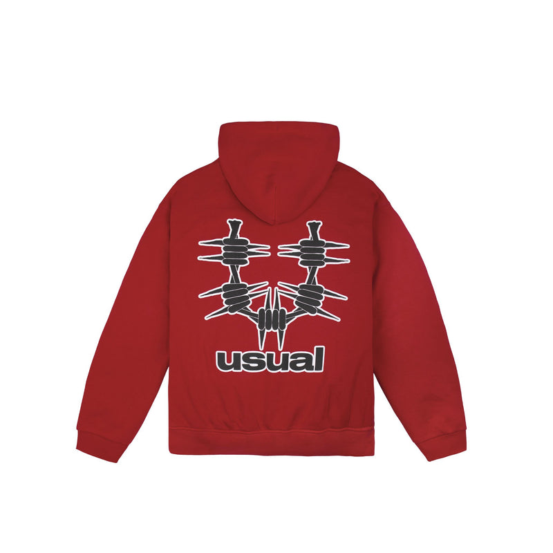 Usual - Outline Hoodie Red