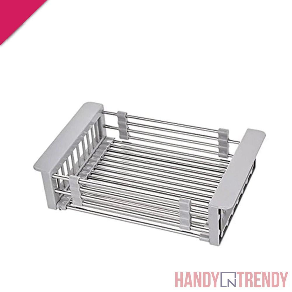 adjustable sink basket, retractable basket, stainless steel retractable sink basket, handyntrendy