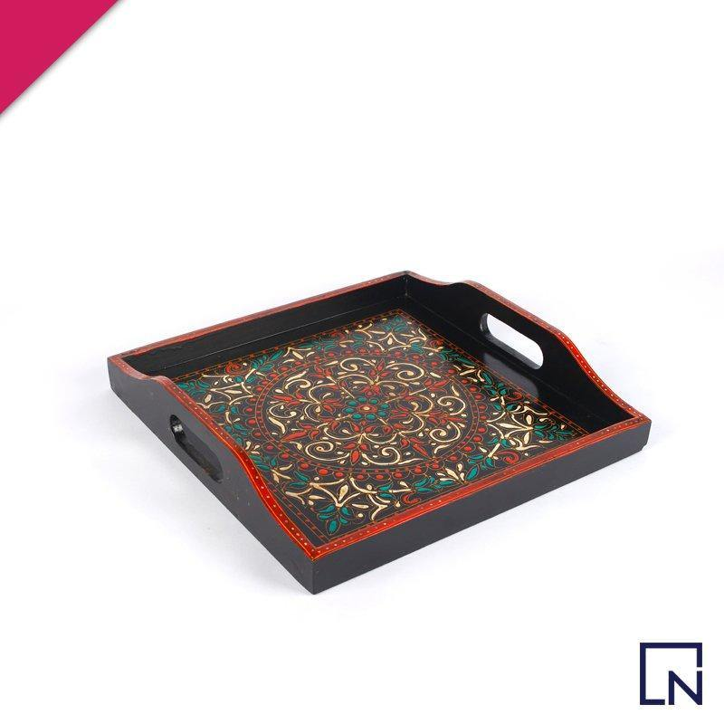 handmade wooden tray, handmade tray, wooden tray, handpainted tray, swat art gallery, tableware, classic tableware pakistan, wooden serving tray, kitchen tools, kitchen accessories, handyntrendy