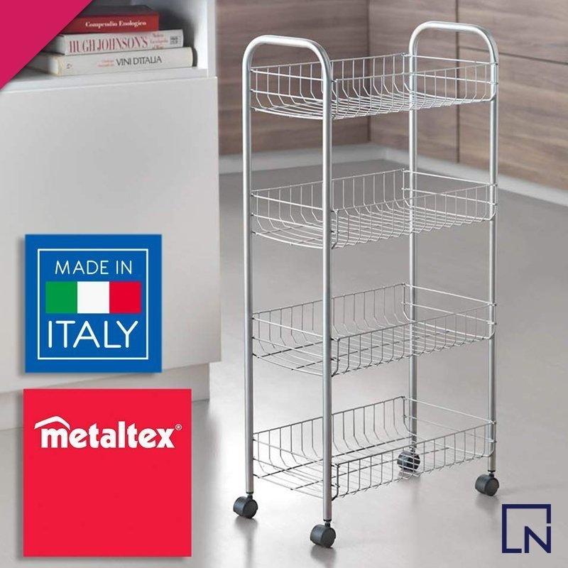 metaltex ascona trolley, metaltex ascona rolling cart, metaltex silver cart, metaltex products pakistan, metaltex products online, kitchen accessories, kitchen tools pakistan
