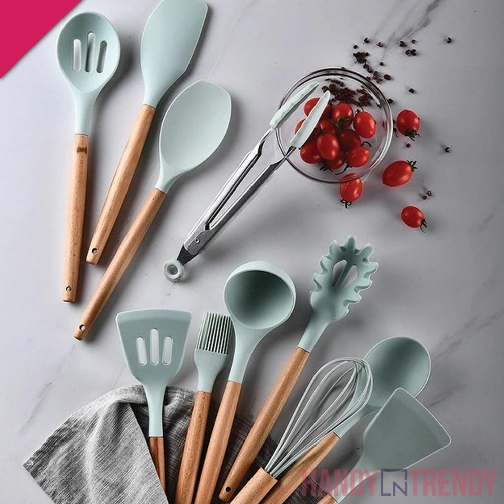 12pcs silicone utensils set, cooking tools set, complete cooking tools set, silicone ladles, high quality cooking tools set, handyntrendy