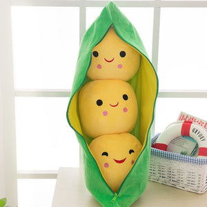 Pea pod pillow - with mini pillows inside - Yellow