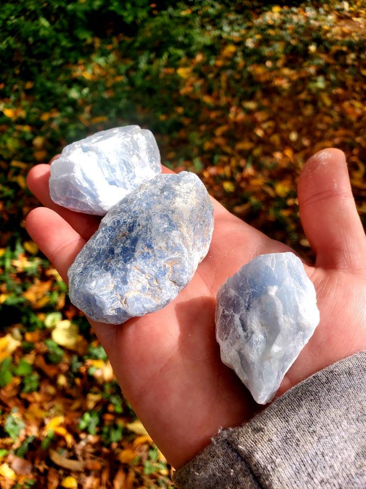 Blue Calcite - Rough Blue Calcite - Natural and Organic- Ethically sourced- blue crystal- Great for Tumbling