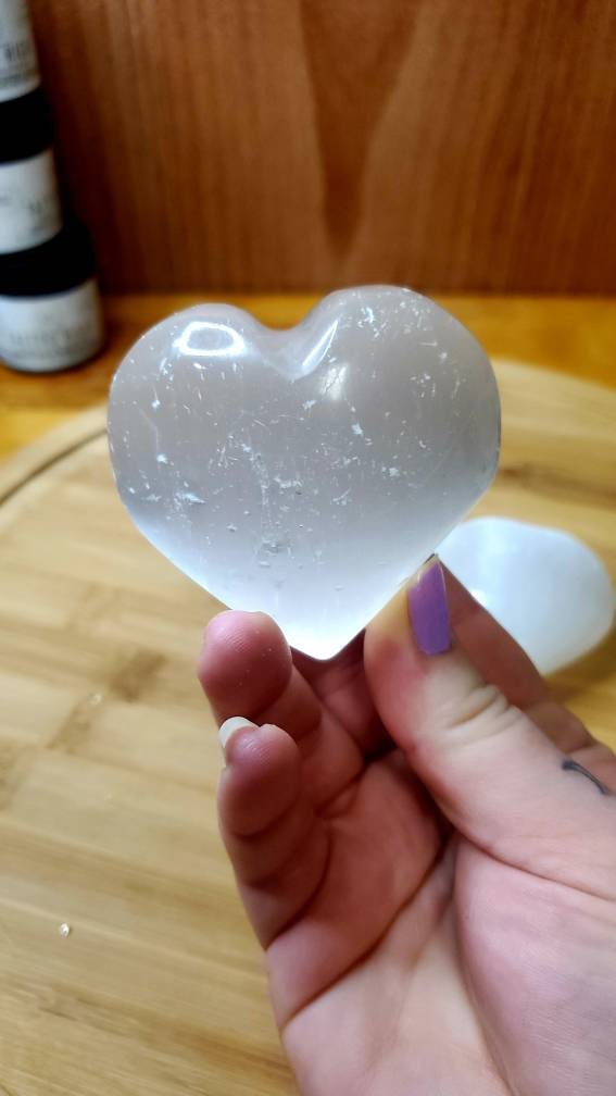 Satin Spar Heart - Heart Shaped Crystal - Polished Satin Spar