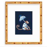 Blue and White Toile Chinoiserie Monkey with Umbrella
