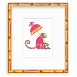 Pink and Orange Chinoiserie Monkey with Parasol