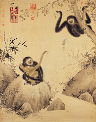 Gibbons at Play Chinese Monkey Painting