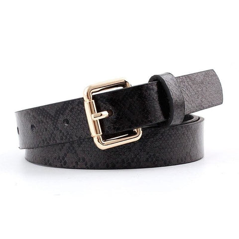 Women's black leather belt gold buckle