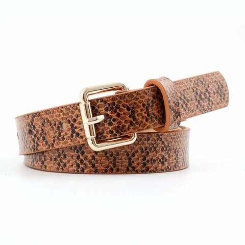 Brown Snake Print Belt