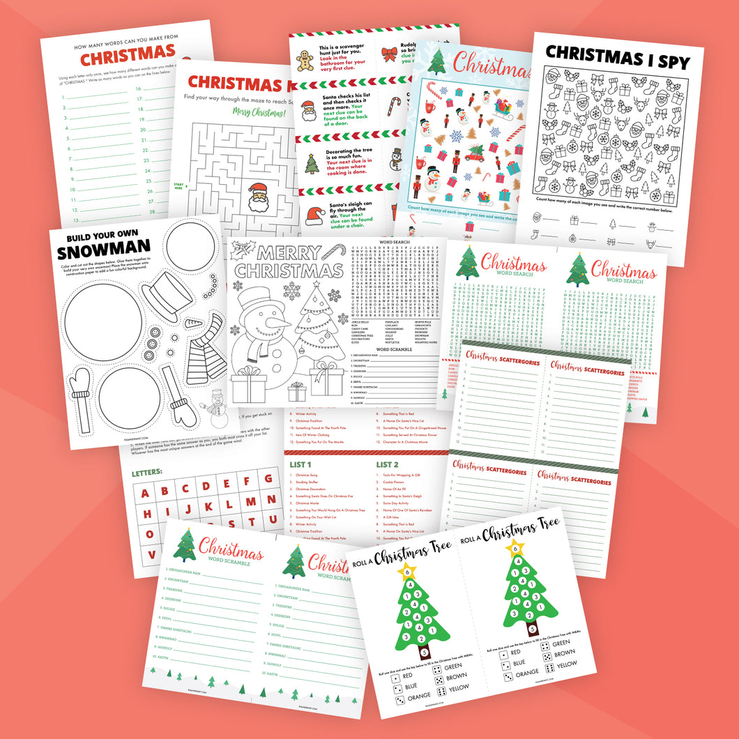 Printable Christmas Game Bundle for Kids