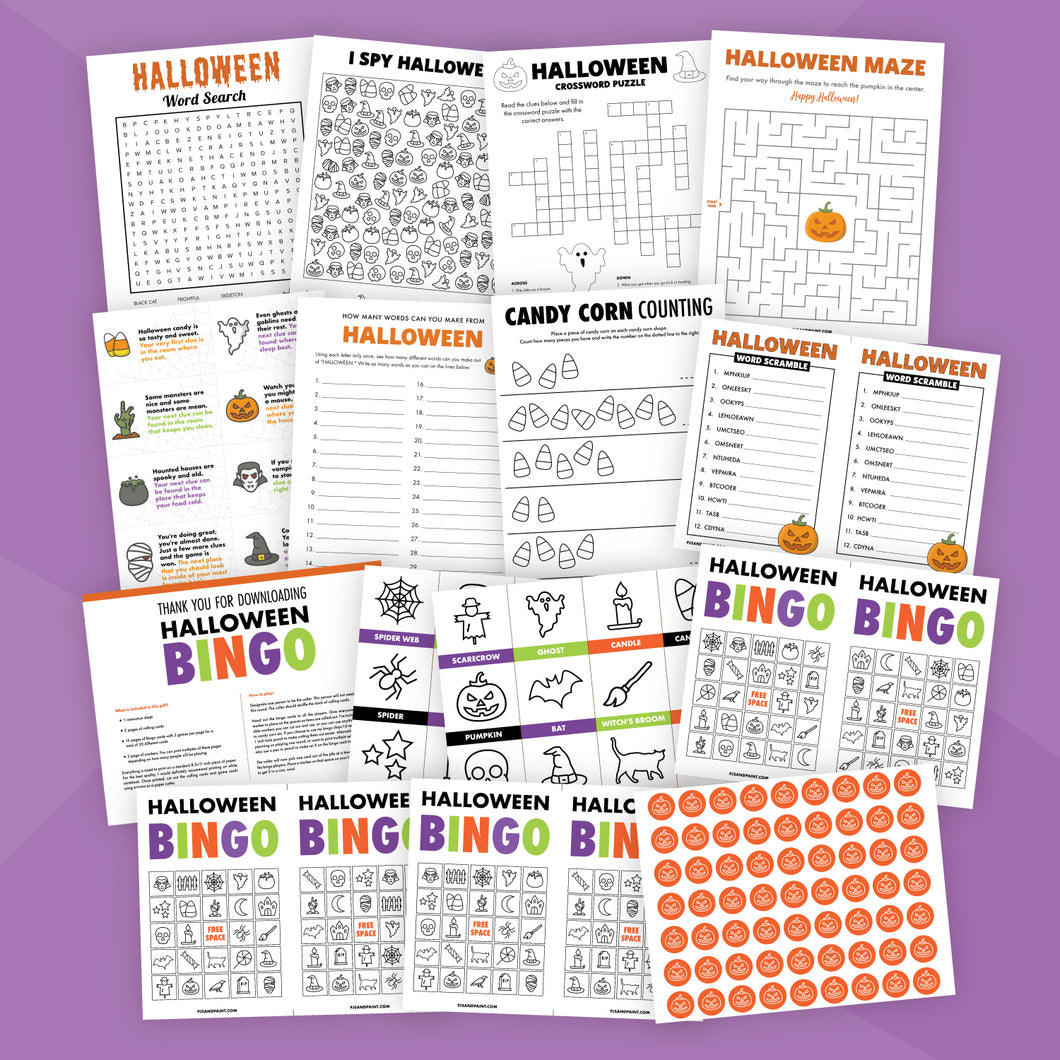 Printable Halloween Game Bundle for Kids