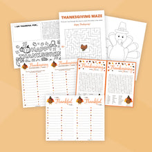 Load image into Gallery viewer, Printable Thanksgiving Activity Bundle for Kids